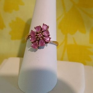 10K Yellow Gold Pink Sapphire Ring